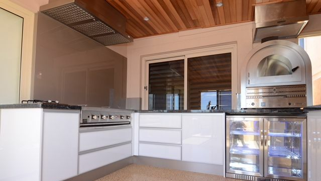 Cabana Pluss Cabinets  Outdoor Alfresco Kitchens High Glass Stylelite Doors  With Custom Made Stainless Steel Handles Indoor Approved Infresco BBQ And  ...